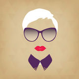 Portrait of a beautiful stylish hipster lady. Vector illustratio Stock Photo