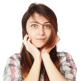 Portrait of beautiful surprised young woman (Body language, gest Stock Images