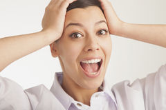 Portrait of beautiful surprised young woman (Body language, gest stock photography