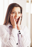 Portrait of beautiful surprised young woman Body language, gest Stock Photography