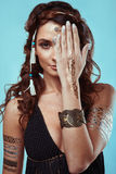 Portrait of beautiful swag young hippie woman Royalty Free Stock Photo