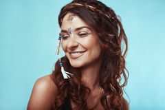 Portrait of beautiful swag young hippie woman Stock Image