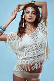 Portrait of beautiful swag young hippie woman Stock Photos