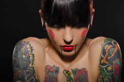 Portrait of beautiful tattooed women Stock Photo
