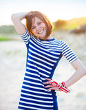 Portrait of the beautiful teen girl near the sea Royalty Free Stock Photos