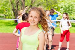 Portrait of beautiful teen girl on the playground Royalty Free Stock Photos