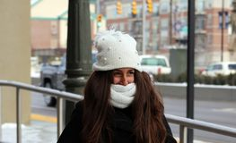 Portrait of a beautiful teenage girl in Detroit. Michigan during winter stock images