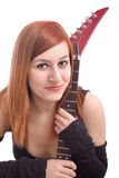Portrait of a beautiful teenage girl with guitar Stock Photo