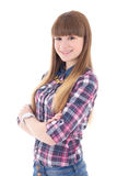 Portrait of beautiful teenage girl isolated on white Royalty Free Stock Photo