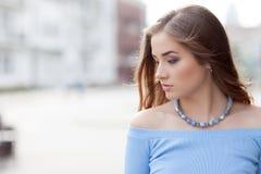 Portrait of a beautiful teenage girl outdoors. stock photos