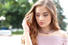 Portrait of a beautiful teenage girl outdoors. stock image