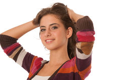 Portrait of a beautiful teenage girl  over white  Royalty Free Stock Photography