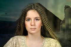 Portrait of a beautiful teenager girl. With long hair Royalty Free Stock Photography