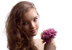 Portrait of beautiful teenager girl with flower Royalty Free Stock Photos