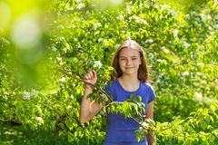 Portrait of beautiful teenager girl with pear tree Stock Photo