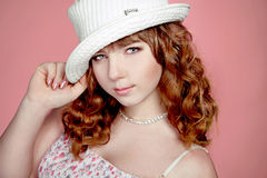 Portrait of beautiful teenager girl with red hairs Royalty Free Stock Images