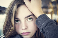 Portrait of a beautiful teenager girl. Sitting in a bus Royalty Free Stock Photo
