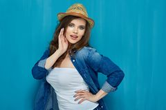 Portrait of beautiful teenager girl wearing jeans denim shirt. Hipster style girl Royalty Free Stock Photography