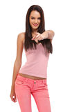 Portrait of a beautiful teenager pointing at you Royalty Free Stock Image