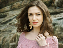 Portrait of beautiful tempting girl in sweater Stock Images