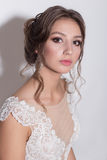 Portrait of a beautiful tender young bride with evening festive hair and gentle make-up in a snow-white dress with a train. Portrait of a beautiful tender young Royalty Free Stock Images