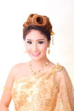 Portrait beautiful thai woman in thai traditional costum Royalty Free Stock Photography