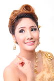 Portrait beautiful thai woman in vintage thai traditional costum Royalty Free Stock Photography