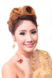 Portrait beautiful thai woman in vintage thai traditional costum Royalty Free Stock Photos