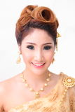 Portrait beautiful thai woman in vintage thai traditional costum Royalty Free Stock Photo