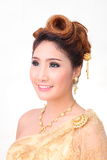 Portrait beautiful thai woman in vintage thai traditional costum Stock Photography