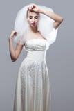 Portrait of beautiful thoughtful bride Stock Photo