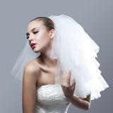 Portrait of beautiful thoughtful bride Royalty Free Stock Photos