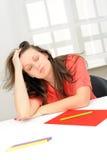 Portrait of beautiful tired business woman Stock Photo