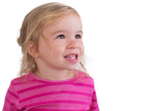 Portrait of a Beautiful  Toothy Smiling Toddler. Beautiful toddler giving toothy smile Stock Images