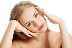 Portrait of beautiful topless caucasian woman. Royalty Free Stock Photography