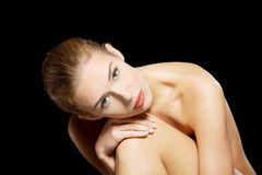 Portrait of beautiful topless caucasian woman. Stock Photos