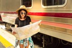 Portrait beautiful traveler woman. Attractive beautiful girl use stock image