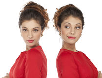 Portrait of beautiful twins young woman Stock Photo