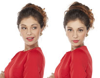 Portrait of beautiful twins young woman Royalty Free Stock Photo