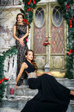Portrait of beautiful twins young women in gorgeous evening dresses over christmas background Stock Images