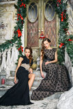 Portrait of beautiful twins young women in gorgeous evening dresses over christmas background Royalty Free Stock Image