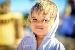 Portrait of a beautiful two year old baby  girl with blonde hair Stock Photos