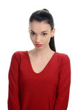 Portrait of a beautiful unhappy woman. Sad, disappointed, bored girl. Royalty Free Stock Images