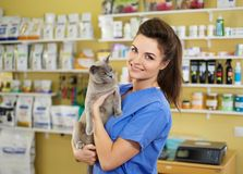Portrait of a beautiful veterinarian holding cat at clinic. Royalty Free Stock Photography