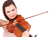 Portrait of beautiful violinist Royalty Free Stock Photography