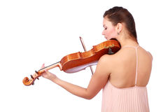 Portrait of beautiful violinist Royalty Free Stock Images
