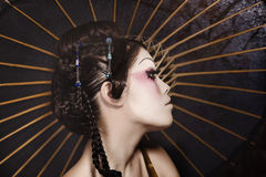 Portrait of a beautiful white girl in geisha style Stock Photo
