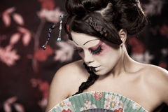 Portrait of a beautiful white girl in geisha style Royalty Free Stock Photography