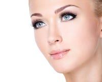 Portrait of beautiful white woman with long false eyelashes Stock Photo