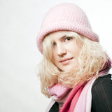 Portrait of beautiful whitehair girl in pink Stock Photography